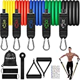 VANWALK Resistance Bands Set 11 PCS Gym Equipment Workout Bands for Home with Handles Ankle Straps Carry Bag Stackable Fitness Exercise Bands for Women Men Training, Home Workouts