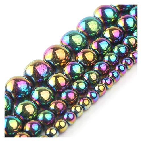 HETHYAN Piedra de hematita Colorida Natural 2/3/4/6/8/10 MM Ronda Redonda Rainbow Rainbow Beads for joyería Hacienda DIY Charm Pulsera Collar de 15 Pulgadas (Size : 6mm 61pcs Beads)