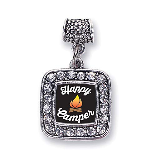 Inspired Silver - Happy Camper Memory Charm for Women - Silver Square Charm for Bracelet with Cubic Zirconia Jewelry