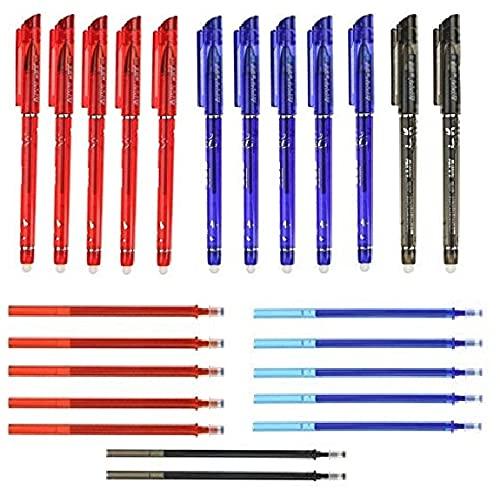 RHardware Penne a sfera con inchiostro nero, rosso, blu, 12 penne cancellabili da 0,5 mm e 12 ricariche di gel per penne, cancelleria scolastica.
