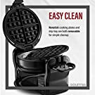 Gourmia GWM490 Belgian Waffle Maker - Double Waffles - Extra Deep - Fast & Easy - 180 Degree Flipping - Brushed Stainless Steel - Nonstick Plates - Black - Free Recipe Book #3