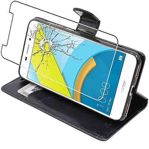 ebestStar - kompatibel mit Huawei Honor 6C Pro Hülle Kunstleder Wallet Case Handyhülle [PU Leder], Kartenfächern Standfunktion, Schwarz + Panzerglas Schutzfolie [Phone: 147.9 x 73.2 x 7.7mm, 5.2'']