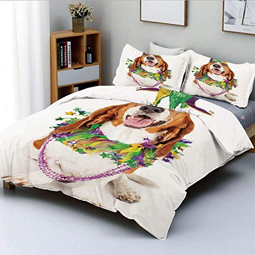 Duvet Cover Set,Happy Smiling Basset Hound Dog Wearing a Jester Hat Neck Garland Bead Necklace DecorativeDecorative 3 Piece Bedding Set with 2 Pillow Sham,Multicolor,Best Gift Easy Care Anti