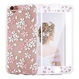 iPhone6ケースカバー 保護フィルム付き iPhone6S ケース アイホン6ケース スマホケース 保護カバー 花柄 おしゃれ 人気 かわいい ソフト 女子 携帯case(iPhone6/6S 4.7, さくらの花柄)
