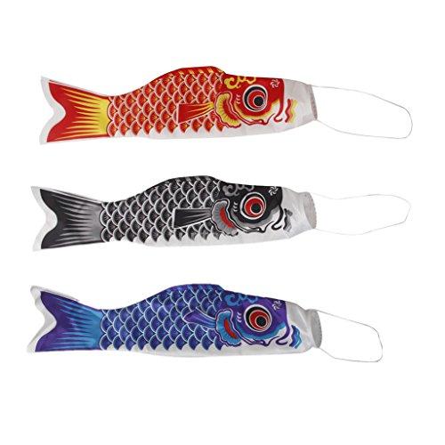 MagiDeal 3 Piezas Japonesa Koinobori Carpa Pesca Windsock Artificial para Decoración Festival Fiesta