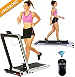 2 in 1 Under Desk Portable Electric Folding Treadmill Walking Pad with Wireless Remote Control and Audio Speakers, Fitness Walking Jogging Running Machine Cardio Workout for Home Office (Grey)