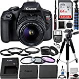 Canon EOS Rebel T7 w/18-55mm F/3.5-5.6 Lens and 12pc Essential Accessory Bundle: Bundle Includes - SanDisk Ultra 64GB SDXC Memory Card, 57' Professional Tripod, Digital Slave Flash, and Much More