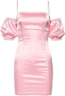 JIAXIAOYAN Vestir de Manga Mini Vestido del Hombro Rosa Puff, Nocturna Romance Rosado francés Noche Libre de Hombro Elegante Vestido Delgado del Club, Vintage Columpio Vestido de Fiesta