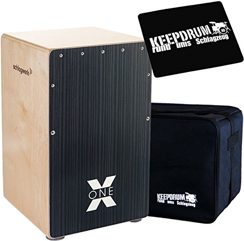 Schlagwerk CP160 X-One Hard Coal Stripes Cajon + keepdrum Gig Bag + CP-01 Pad