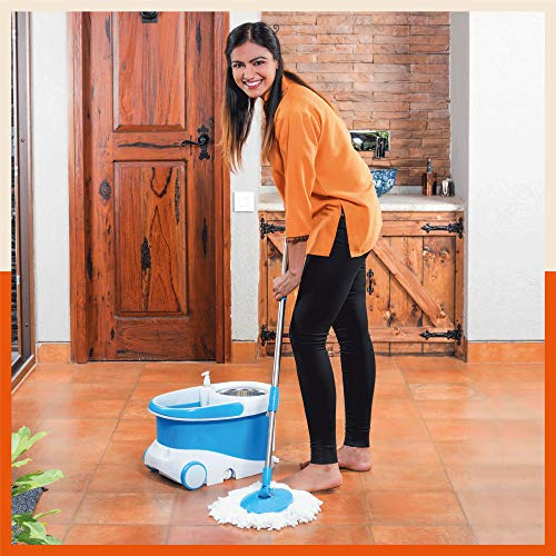 Bathla Ultra Clean 360° Plus - Hi-Tech Spin Mop with Telescopic Handle and Precision Moulded Bucket + 2 Microfiber Mop Heads & + Built-in Solution Dispenser