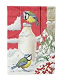 Caroline's Treasures ASA2003CHF Eurasian Blue Tits Birds & Milk Bottles Canvas House Size Flag