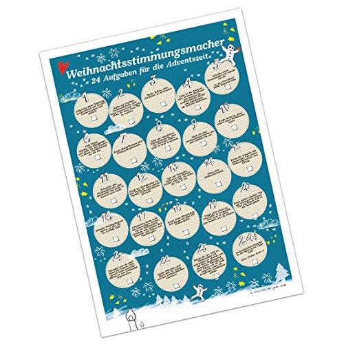 Adventskalender voor volwassenen: kerststemmingsmaker blauw, 24 kersttaken voor de adventstijd, A3, 30x42, schuttpapier