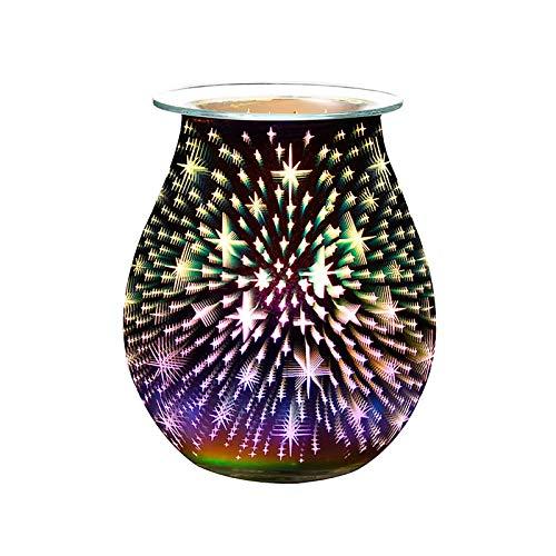 bysonice BrûLeur de Cire Fondue à ArôMe éLectrique Lampe 3D RéChauffeur de Cire de Veilleuse