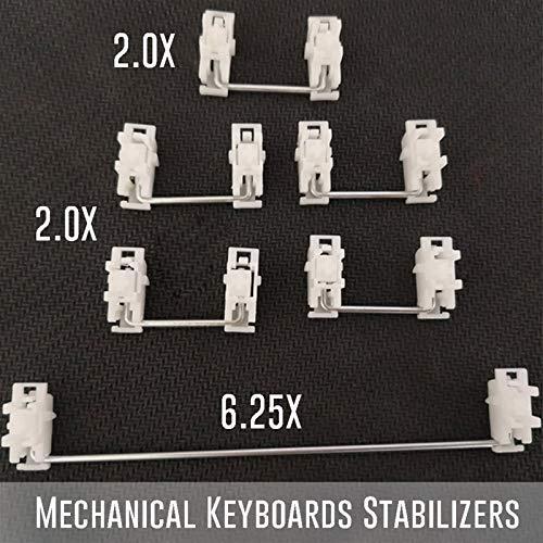 juqingshanghang1 Keycap-Stabilisatoren Weißes Gehäuse für Plattenmontage PCB-Montage für MX-Opener-Mechanische Keyboards 2U 6.25U (Axis Body : 4x2u, Color : White Case)