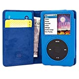 Snugg iPod Classic Case Leather Flip Case [Card Slots] Executive Apple iPod Classic Wallet Case Cover and Stand Legacy Series Electric Blue