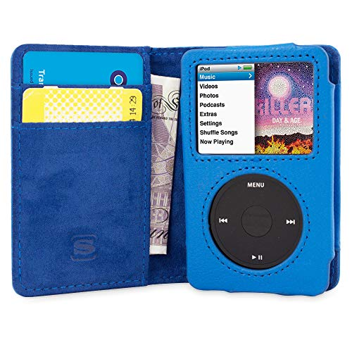 Snugg iPod Classic Case, Leather Flip Card Slot Case Apple iPod Classic Wallet Case Cover and Stand - Blue - Legacy Series