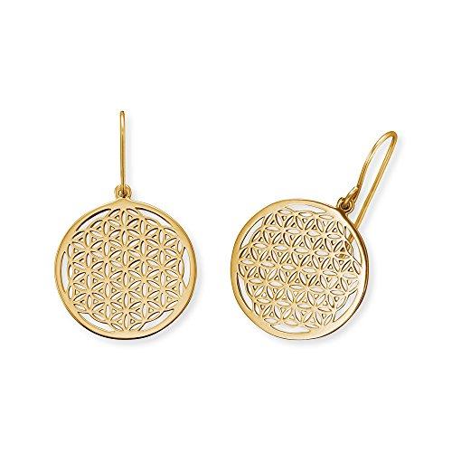 Engelsrufer Blume des Lebens Ohrhänger für Damen vergoldetes 925er-Sterlingsilber Größe 21 mm