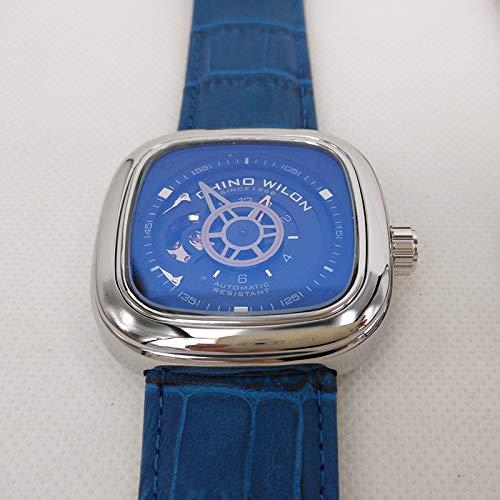 SHOUB Orologio Meccanico Automatico Orologio Quadrato in Pelle da Uomo Orologio turbocompresso da Uomo Veyron Watch con Scatola