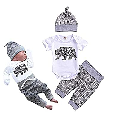 Newborn Baby Boy Clothes Baby Bear Letter Print Romper+Long Pants+Hat 3PCS Outfits Set White from