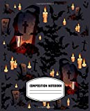 Composition Notebook: Halloween Pattern with Graves, Bats, Candles and Lanterns on dark background.Halloween Composition Notebook .
