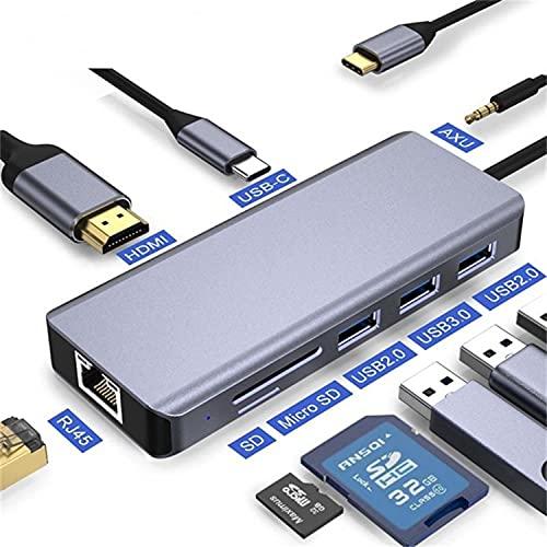 DOOK 9 in 1 Hub USB C HDMI, Multipuerto Adaptador Tipo C with Gigabit Ethernet, 2 USB 3.0, USB-C Power, 4K HDMI, VGA, Audio Mic Port, SD/TF Card Reader For MacBook Pro/Mac Air 2020/ Surface Etc