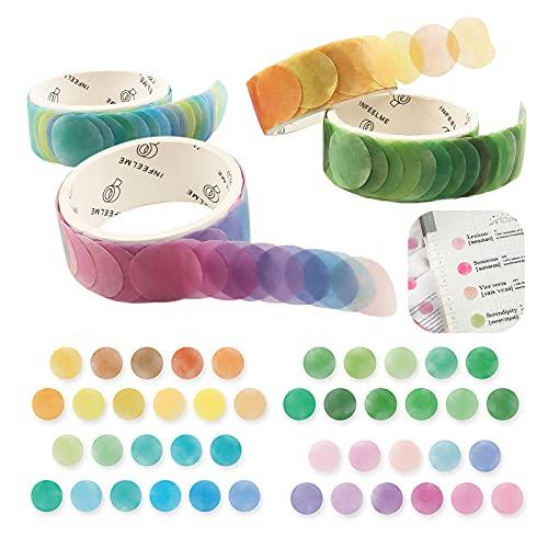 Gxhong Washi Tape Set,4 Rollos Cintas Washi Tape Decorativa Cinta Vintage Cinta Adhesivas Adhesiva de Colores,para DIY Crafts Scrapbooking,Papel de Regalo,Diario,Fotos,Sobres,Tarjetas(Redondo)