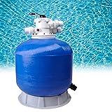 HIMAPETTR Filtro para Piscina, 16m³/h, Diámetro 63 Cm, 6 Funciones De Filtrado, 210 Kg Capacidad, Limpieza Depuradora De Agua Azul