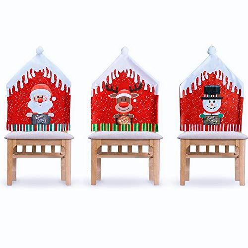 Toruiwa – Juego de 3 fundas de silla de Navidad para comedor, extensible, para decoración de cena de Navidad, sombrero de Papá Noel, muñeco de nieve y Wapiti (rojo, 47 x 60 cm)