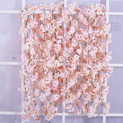 Homcomodar 2er Pack künstliche Blumne Kirschblüten Girlande Rosa, Seidenblume Vine für Hochzeit Party Tisch Hintergrund Bogen Wand Dekor