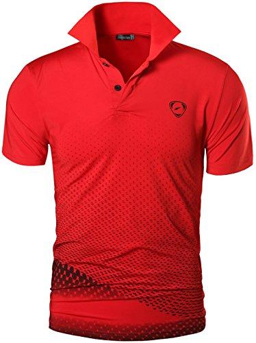 jeansian Uomo Allenarsi Sportivo Poliestere Asciugatura Rapida Camicie Workout Polo Shirt T-Shirts LSL195 Red L