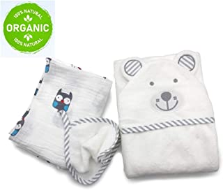 Premium Baby Towels by Pochono - Bamboo Baby Hooded Towel Set with Bonus Muslin Swaddle Blanket - Organic, Soft and Hypoallergenic Baby Towels with Cute Bear Design - Blue, Pink and Grey Grey 1