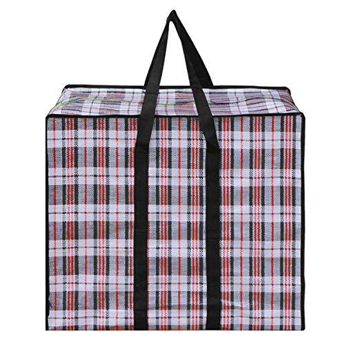 CLARA Large Checkered Storage Bag Oversized Waterproof Moving Totes Carrying Bag Luggage Bag Reusable Laundry Bag(Black, 24×24'')