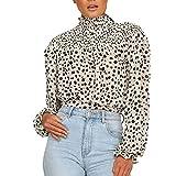 CLOOM Bluas de Mujer Camisa de Sexy Blusa Elegante Manga Larga Camisas Lunares Clásicos Suelta Chica Casual Otoño e Invierno Cuello Alto Shirts,para Vacaciones/Citas/Regalo Pareja