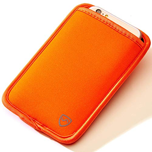 SYB Handy Tasche, Handy EMF Schutz Holster Sleeve für Handys bis 7cm Breit, Orange