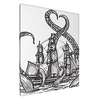 タコと船 アートパネル ポスター 絵画 インテリア 壁絵 装飾画 壁飾り 壁掛け 部屋飾り 20cm×25cm 木枠セット