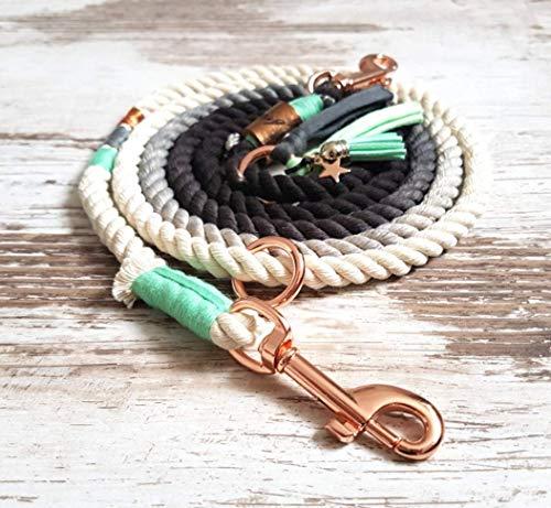 Hundeleine *Holi* Piet Spearmint– Boho-Stil – Leine für Hunde – 100% Handmade & Unique – Tauwerk aus 100% reiner Baumwolle