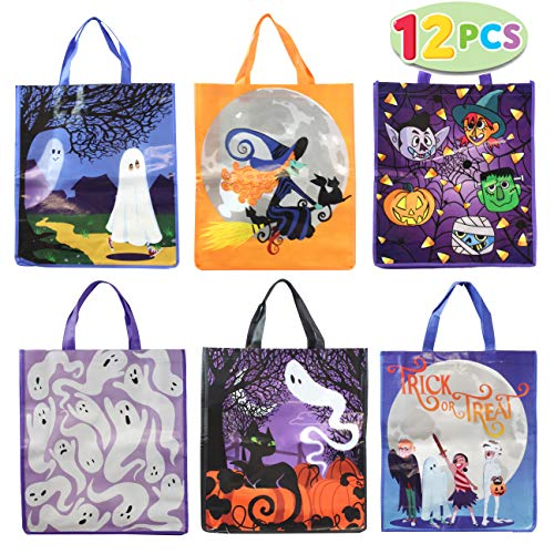 """JOYIN 12 Halloween Large Treat Goody Tote Bags 17"""" x 15"""" for Halloween Trick or Treat Candy Bags, Gift Goodie Bags, School Classroom Bags, Party Favor Supplies"""