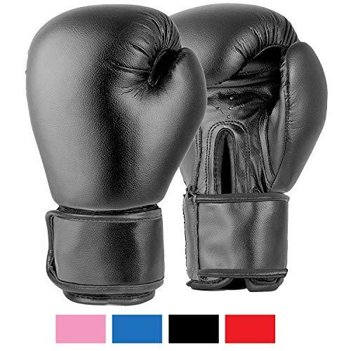 Lions Boxhandschuhe für MMA, für Boxsack-Training, Fausthandschuhe,179 g, 227 g, 283 g, 397 g, 454 g, schwarz, rosa, rot, BX-1010, Schwarz , 6oz (Junior 6-11)
