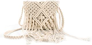 HIFASLT Macrame Cotton Rope Bag Woman Purse Fringed Bohemian Shoulder Bags Crochet Wicker Woven with Tassel for Travel, Beach, White