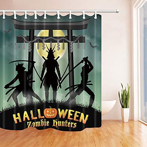 NJMRZX Halloween-Duschvorhang Samurai Zombie Jäger mit japanischem Stil Tempel Tor bei Mond Nacht Polyester Stoff Wasserdicht Duschvorhang für Badezimmer 180 x 180 cm Duschvorhänge Haken enthalten