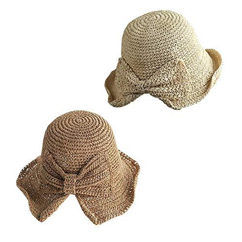 MarJunSep 2 Pieces Foldable Packable Wide Brim Floppy Straw Sun Hat Summer Beach Hat for Women Girl UV Protection Hat (Beige & Khaki)