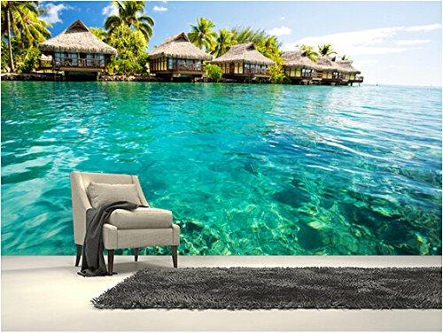 Mznm Custom Scenery Wallpaper.Tropical Lagoon Heaven,3D Photo Murals For Living Room Kitchen Restaurant Wall Waterproof Wallpaper-350X250Cm