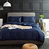 Sebasty Funda de edredón grande, sábana de cama, funda de almohada, ropa de cama simple de algodón, de alta densidad, juego de cuatro piezas (azul pavo real) (tamaño: 2 m)