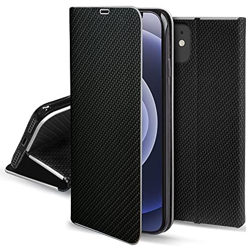 Moozy Funda con Tapa para iPhone 12 Mini, Carbono Negro – Flip Cover con Bordes Metalizados de Protección Elegante, Soporte y Tarjetero