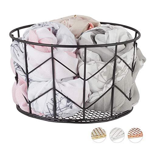 Relaxdays draadmand, rond, vintage design, opslag, kleding, accessoires, decoratieve mand, metaal, diameter 21,5 cm, zwart