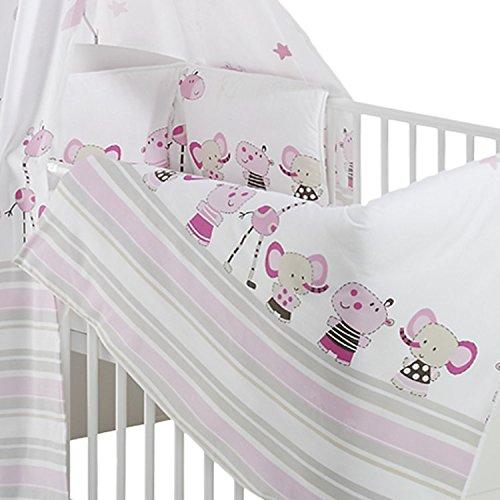 Schardt Kinderbett Classic-Line Weiss inklusive Umbaukit | In Weiss | Bett-Set Banjo Pink inkl Matratze und Himmelstange | 70 x 140 cm