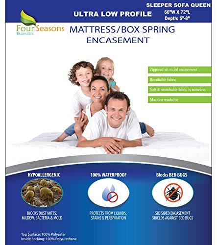 Sleeper Sofa Queen Mattress Protector 60' Wx72 Lx5 D - Waterproof Zippered...