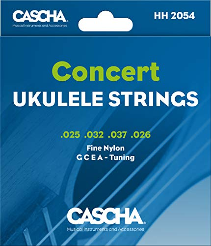 Cascha Konzert Ukulele-Saiten-Set I Premium-Nylon-Saiten für Konzert-Ukulelen I sehr gute Klang-Qualität & hohe Lebensdauer I hochwertiges 4er Saiten-Set G-C-E-A I Concert Ukulele Strings 4 Stück