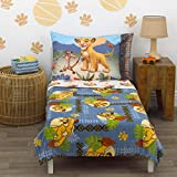 Disney Lion King - Totally Tribal - 4 Piece Toddler Bed Set - Coral Fleece Toddler Blanket, Fitted Bottom Sheet, Flat Top Sheet, Standard Size Pillowcase