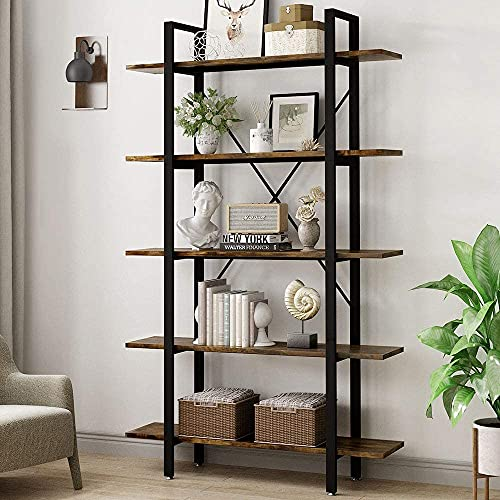 YOLEO Bookshelf Etagere Bookcase, Open 5-Tier Book Shelves for Display and Storage, Modern Simplicity Showcase Cabinet Book Case for Living Room, Home Office, Corner, 120 x 30 x 178CM (Rustic Brown)